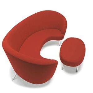 sofa curvo vermelho