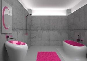banheiro moderno pink e cinza