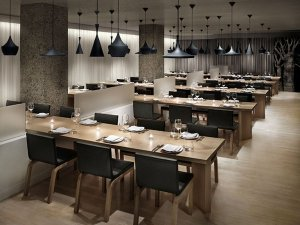 sala de jantar marrom preta