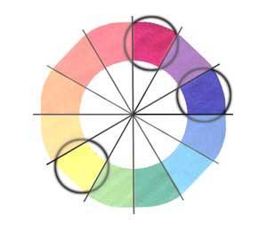 cores analogas e complementar ao roxo