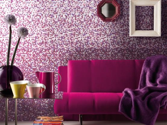 decoração de sala roxa e rosa
