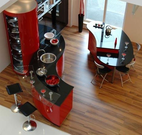 cozinha vermelha preta e madeira