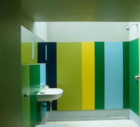 lavabo verde azul e amarelo