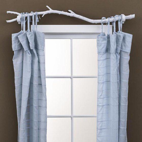 cortina com varao de galho de arvore