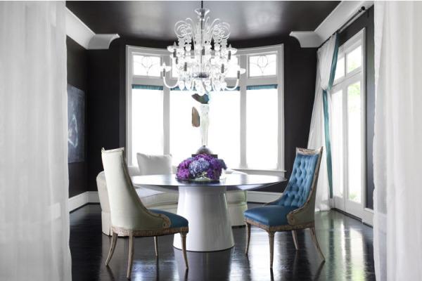 sala de jantar azul e cinza