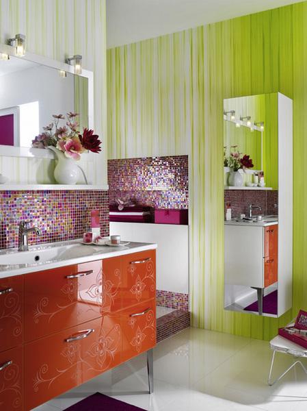 banheiro rosa e verde