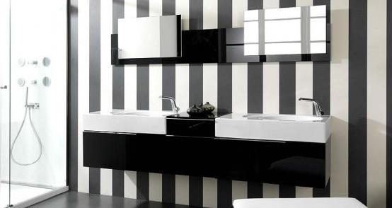 parede listrada preta e branca