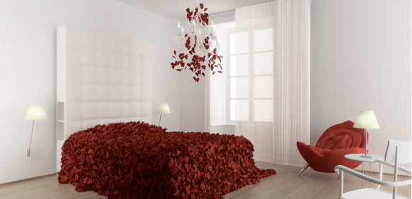 quarto de casal branco e vermelho