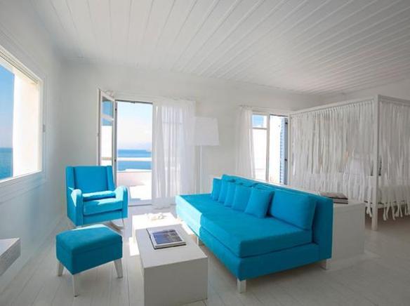 sofa azul turquesa