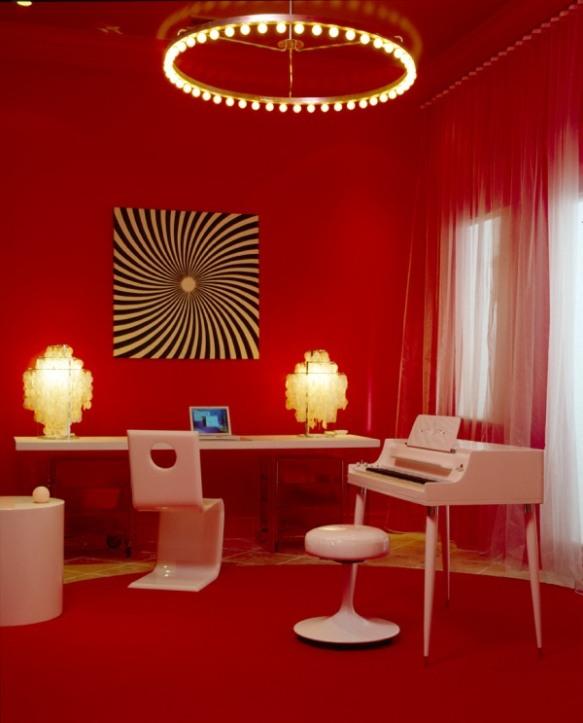 sala parede vermelha