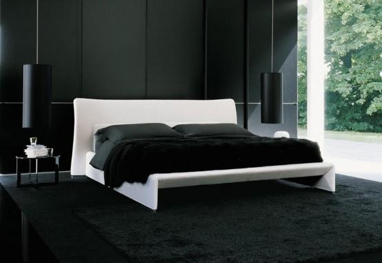 cama branca parede preta