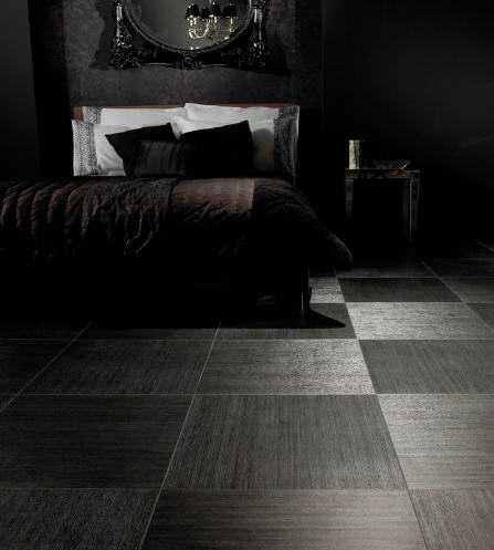 piso preto quarto escuro