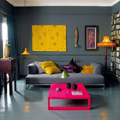 Sala De Estar Cinza E Amarelo ~ sala cinza moderna