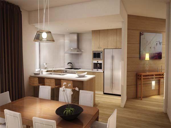parede da cozinha em U pode ser parcialmente eliminada formando uma