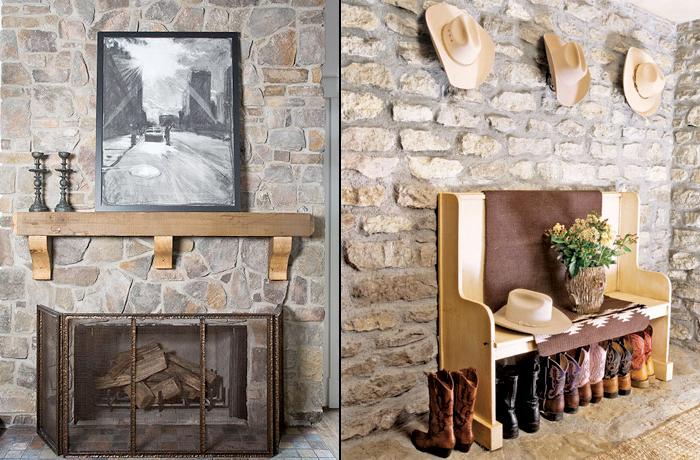 decoracao de interiores cozinha rustica:Paredes de pedras irregulares também dão um aspecto rústico para