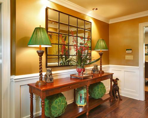 sala marrom e verde