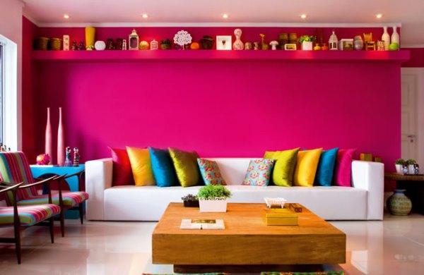 parede pink na sala