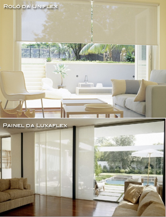 cortina rolô ou de painel que filtra a luz solar