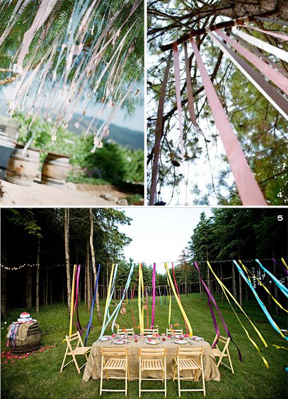 festa no jardim infantil : festa no jardim infantil:Para uma festa ao ar livre, as fitas amarradas nas árvores ou mesmo