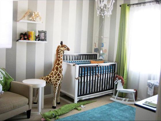 decoracao de quarto de bebe azul e verde
