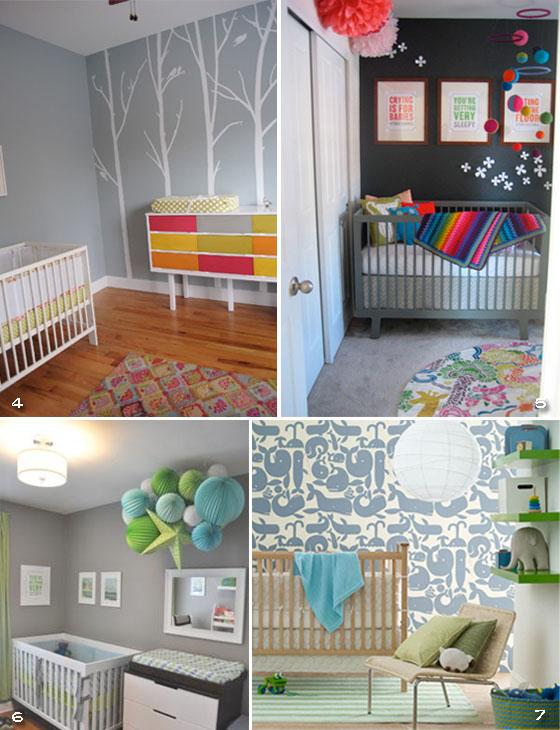 fotos de quartos de bebê cinza
