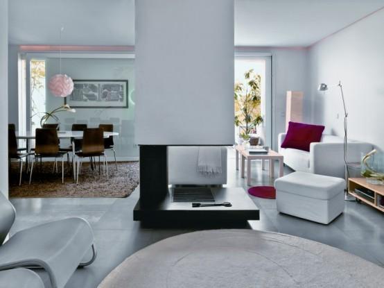 sala de TV e jantar branco