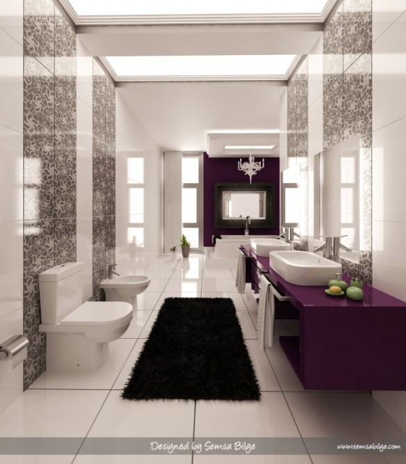 banheiro moderno roxo