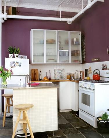 cozinha moderna com roxo