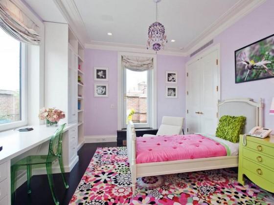 quarto feminino em lilas rosa e verde