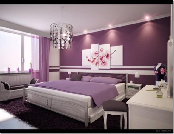 quarto de casal com parede violeta