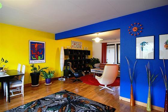 Sala De Estar Com Uma Parede Azul ~ Decoração com Color Block  casa da idea