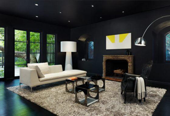 piso preto com tapete bege