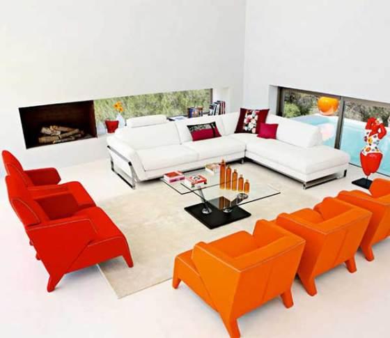 sofa vermelho poltrona laranja