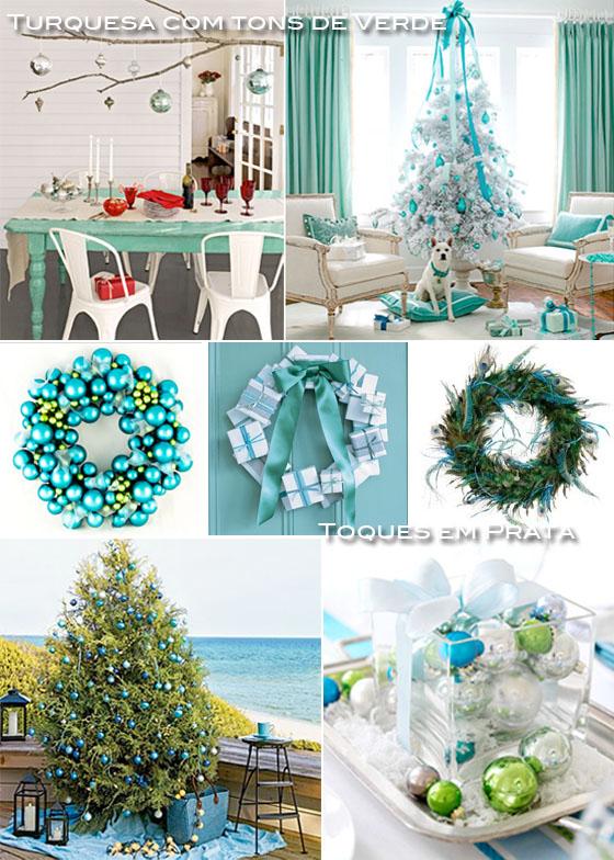 decoracao de natal em azul e branco e prateado