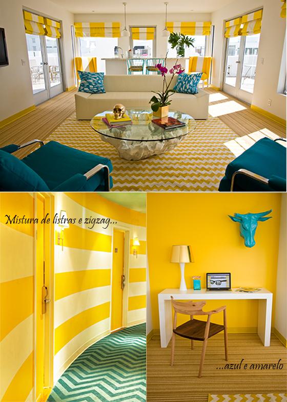 sala colorida em azul e amarelo