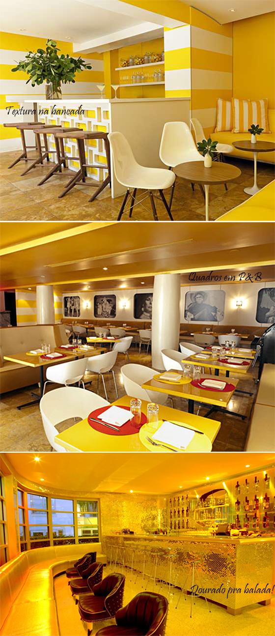 bar amarelo, restaurante amarelo e bar dourado do hotel lords south beach miami