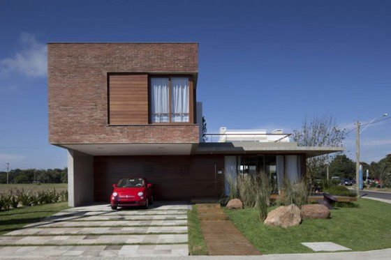 casa moderna fachada em tijolinho