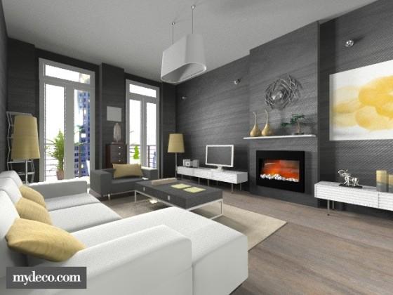 visualização em 3d de sala decorada