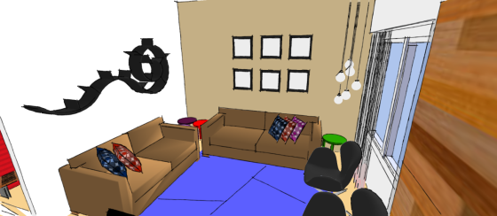 imagem 3d de sala de tv