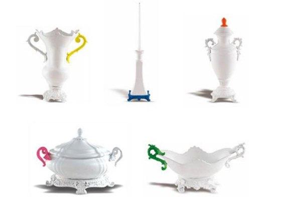 Vasos, molheiras e sopeira em louça branca ficaram mais modernas com detalhes em neon