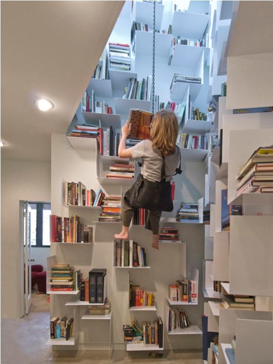 balanço para acessar livros da estante parecem um aparelho de rappel para escalada