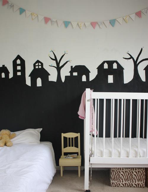 quarto de bebê preto e branco