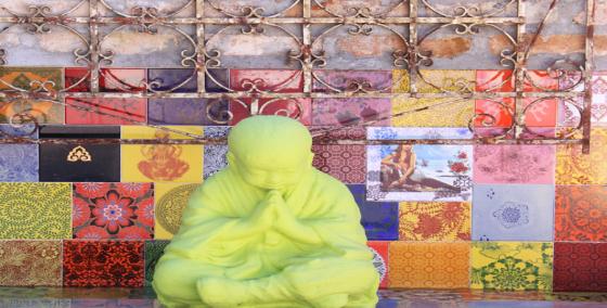 azulejos pintados à mão e com decalques em painel zen de área externa