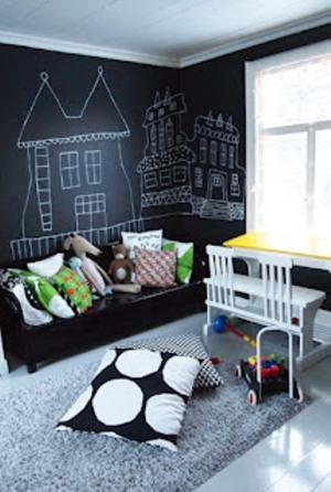 Papel de parede imitando uma lousa, lousa no quarto infantil para a criança desenhar