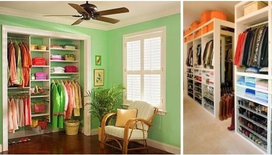 Quarto foi transformado em closet, que ficou arejado com janela. Caixas ajudam a manter roupas e acessórios arrumados