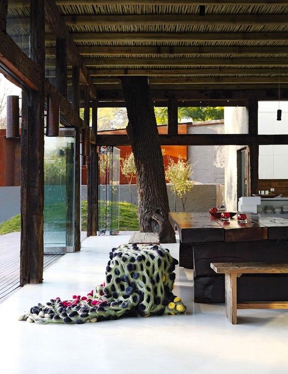 Paredes de vidro, misturar vidro com madeira, árvore dentro de casa.