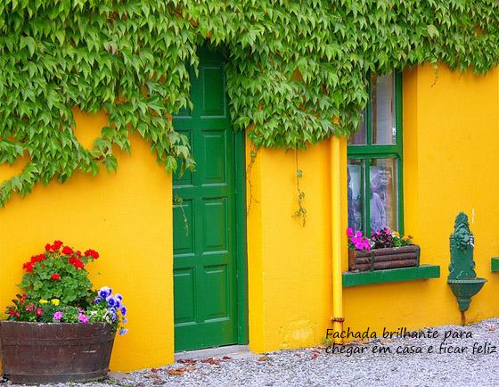 fachada amarela com porta verde e trepadeira