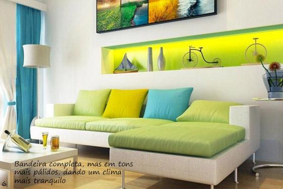 sofa verde claro e branco