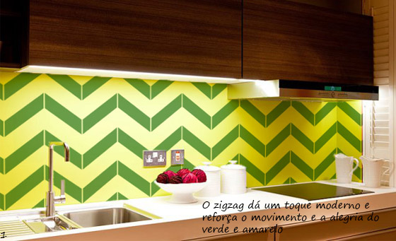 frontao de cozinha em verde e amarelo